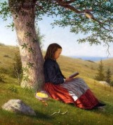3 William Moore Davis (American artist, 1829–1920) Girl Reading by a Tree c 1875
