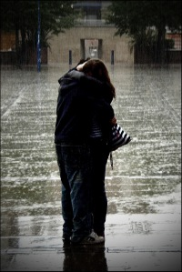 hugging in the rain